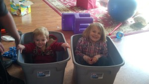 kids in tote, moving, children